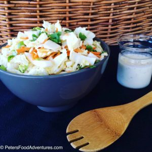 Try this delicious Easy Creamy Asian Coleslaw with Napa Cabbage and Cilantro and a quick homemade dressing. No ramen, no sesame, soy or mandarins. Coleslaw doesn't have to be average!