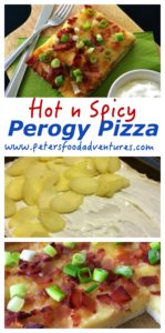 Perogy Pizza is a spicy pizza with layered potato, bacon, cheese topped with sour cream and green onion. Absolutely delicious, a Canadian classic! Spicy Perogy Pizza just like Boston Pizza's