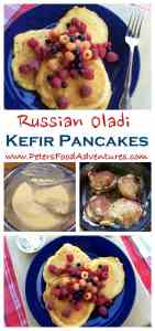 Oladi - Russian Pancakes made with Kefir, topped with Fresh Berries (Оладьи). A healthier and tastier way to make pancakes. Oladi - Russian Kefir Pancakes (Оладьи)