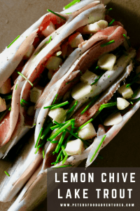 This flavorful lake trout recipe with lemon, chives cooked over hot coals or a bbq. So delicious and easy wrapped in a foil parcel with vegetables - Lake Trout Recipe with Lemon, Chives & Vegetables