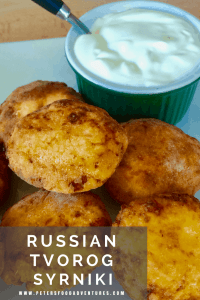 Russian Syrniki, made from Tvorog or Farmers Cheese are a delicious quark pancake. Crispy on the outside, creamy on the inside.