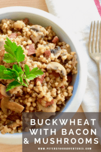 A tasty side dish that's incredibly healthy. Buckwheat is a superfood that is popular in Eastern Europe, low GI, gluten free and a perfect side dish like rice-a-roni! Buckwheat Kasha with Mushrooms and Bacon (Гречневая каша с грибами)