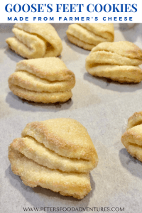 """Easy and delicious Farmers Cheese Cookies, made with Tvorog, Quark or even Cottage Cheese. I love this recipe """"Goose's Feet Cookies """" (Гусиные Лапки) - Farmer's Cheese Cookies"""