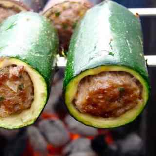 Grilled Stuffed Vegetable Kebabs – (Шашлык из овощей и фарш)