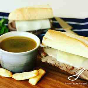 How do they make Au Jus for French Dip? Here's how! A Homemade Real Au Jus Recipe with a delicious Beef Dip or French Dip Recipe with fresh mushrooms and thyme. Easier than you think. Happy Dipping! French Dip with Easy Au Jus Recipe