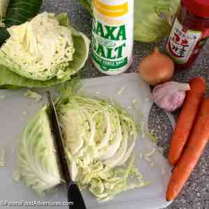Fermented Spicy Sauerkraut prepping cabbage