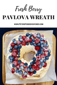Perfect for the Christmas holidays or just to eat on a summer's day, with fresh blueberries and raspberries - Christmas Pavlova Wreath