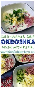 A classic cold summer soup, like Gazpacho only Russian. Incredibly healthy, filled with vegetables and probiotics. Okroshka with Kefir (Окрошка с кефиром)