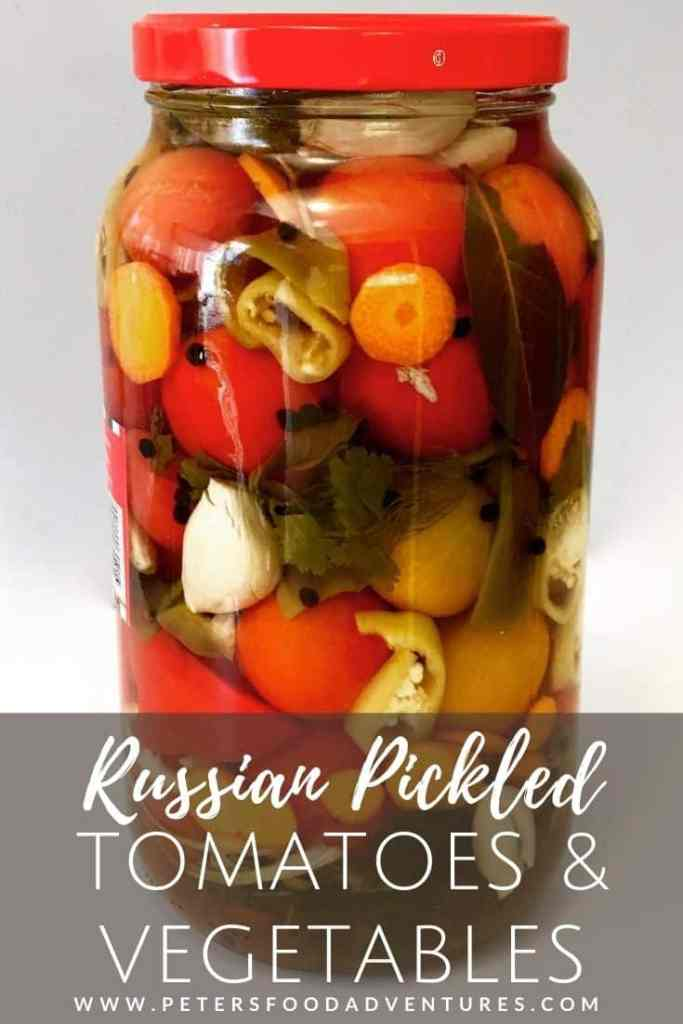 Pickled Tomatoes and Vegetables in a glass jar
