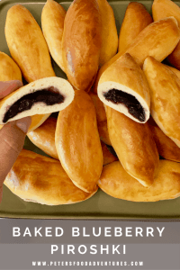 Baked Not Fried! A Sweet Dough Russian Hand Pie Filled with Blueberries, made so much quicker with this easy bread maker yeast dough recipe. Easy Baked Blueberry Piroshki (Пирожки в духовке с голубикой)