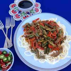 Lagman Uyghur Noodle Stir Fry (Лагман)