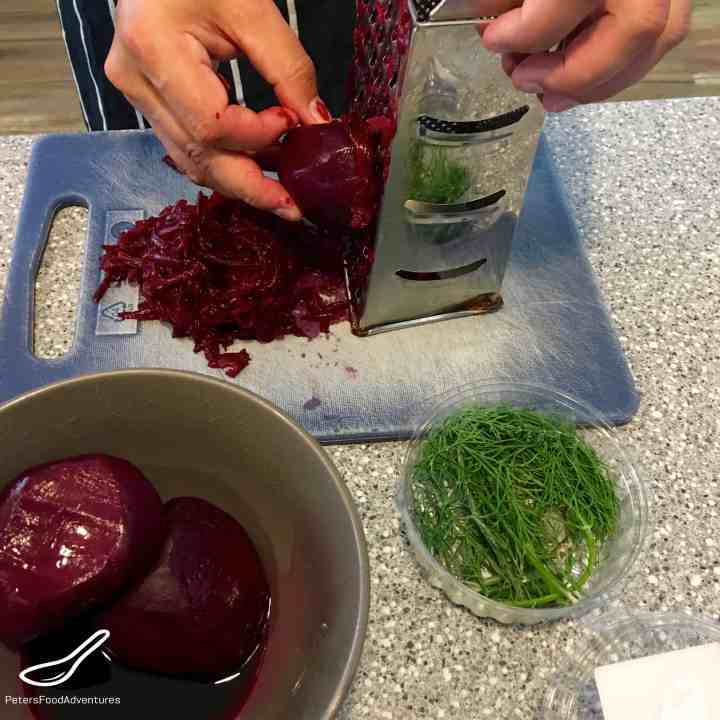 Grating Cooked Beets