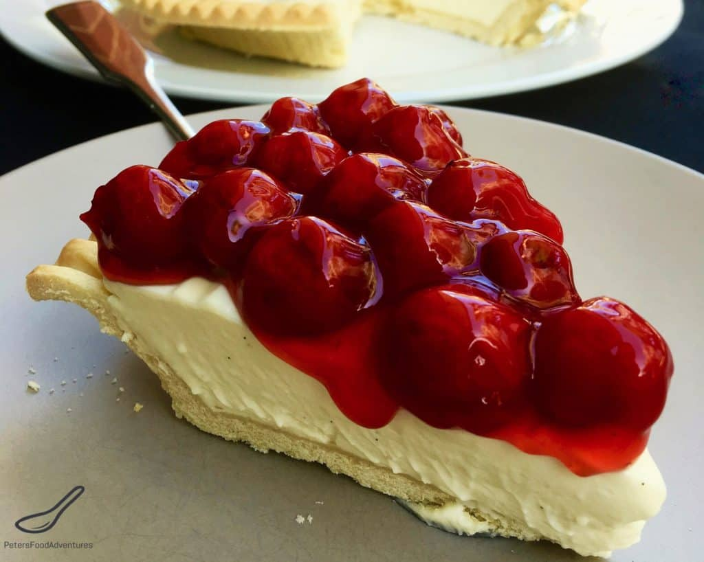 Easy No-Bake Cherry Cheesecake is incredibly easy to make and a crowd pleaser. Philadelphia Cream Cheese, vanilla bean, sweetened condensed milk and cherry pie filling.