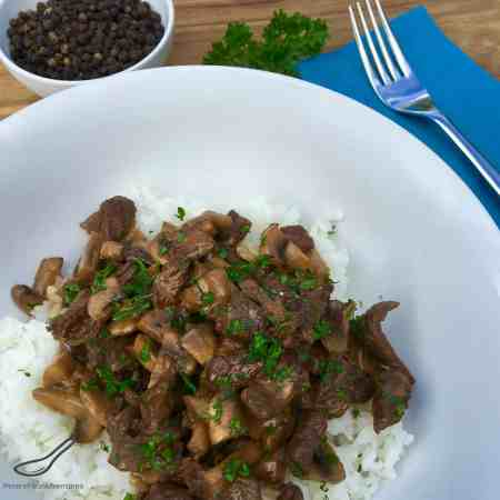 Australian Vegemite with Russian Stroganoff served with rice, Fusion at it's best - Easy Vegemite Stroganoff