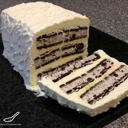 Easy cake to whip up on a hot summer's day or a kids birthday party. Makes me feel like a kid again! No Cool Whip Ice Cream Sandwich Cake.
