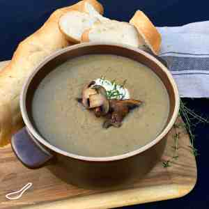 A thick and smooth mushroom soup with Portobello mushrooms, potatoes, beer and thyme - Mushroom and Beer Soup (Грибной Суп)