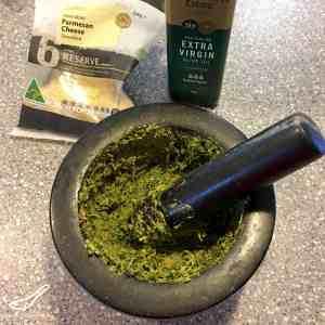 Easy Pesto using a Mortar and Pestle preparation