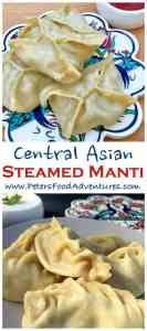Central Asian Manti Steamed Dumplings made with ground beef and pumpkin. Popular across Russia, Kazakhstan and Uzbekistan. Delicious with sour cream - Manti Russian Steamed Dumplings (Манты)