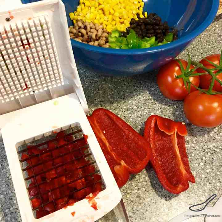 Texas Caviar recipe, chopping red peppers