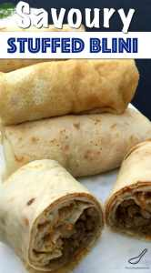 Russian Stuffed Crepes, also called Blinchiki, Blintzes or Blini packed full of savoury meaty goodness.