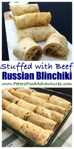 Russian Stuffed Blinchiki, also called Russian Crepes, Blintzes or Blini, a thin rolled pancakei stuffed full of savoury meaty goodness. Blini Stuffed with Meat (Блинчики с мясом)