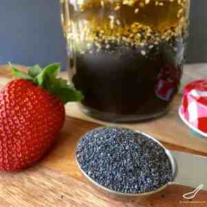 Easy to make, in less than 5 minutes. Perfect with Spinach Strawberry Salad - Poppyseed Dressing with Sesame Seeds