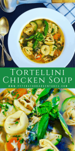 Chicken Tortellini Soup with fresh basil, bacon, zucchini and vegetables in a bowl
