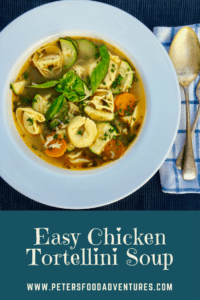 Easy Chicken Tortellini Soup with bacon and fresh basil. Delicious and hearty and loaded with vegetables.