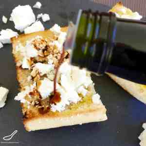 Toasted Turkish Pide Bread with crumbled Feta, generously slathered in a delicious flavoured finishing vinegar (balsamic vinegar) is an amazing breakfast, delicious lunch or easy snack - Toasted Turkish Pide Bread with Feta & Caramelized Fig Vinegar