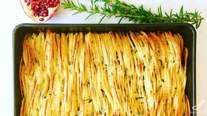 Duck Fat Crispy Leaf Potatoes with fresh Rosemary - Full of flavor, a new take on roasted potatoes. Perfect for Christmas or a holiday feast
