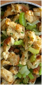 This is the best recipe! So easy to make and delicious too! Larger recipe made with a loaf of sliced bread, celery, chicken stock and traditional sage. Trust me, your family will want seconds! Easy Turkey Stuffing Recipe