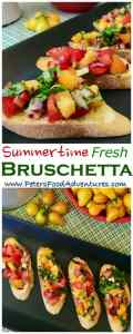 The secret to making a delicious summer Bruschetta with tomatoes is to use garden fresh ripe heirloom tomatoes. Such an easy antipasto appetizer to make, jam packed with flavor from garlic, onions basil and balsamic vinegar, This is the best bruschetta I've eaten!