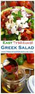 This traditional Cucumber Greek Salad with Easy Oregano Salad Dressing Vinaigrette! Packed with Feta, Tomatoes, Peppers and Onions, so delicious! Traditional Greek Salad with Easy Dressing Recipe