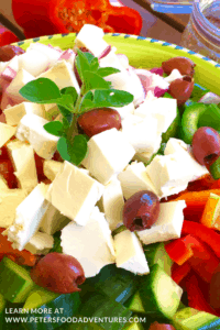 Traditional Greek Salad with Oregano Salad Dressing Vinaigrette! Packed with Feta, Tomatoes, Peppers and Onions, so easy and delicious!