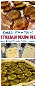 A simple rustic sweet Italian Prune Plum pie or slice, easy to make with a sweet yeast dough recipe (made with a bread maker) - Open Faced Plum Pie (Открытый пирог со сливами)