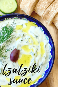 tzatziki sauce in a bowl