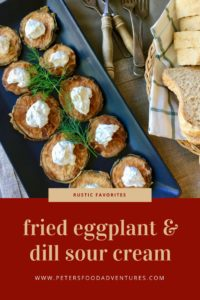 A quick and easy appetizer or side dish, aubergine slices fried in oil then slathered generously with sour cream and fresh dill - Fried Eggplant Slices (Жареные баклажаны)