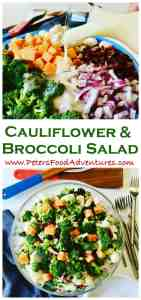 Love this salad! A summer potluck favorite - Jam packed with antioxidant rich Broccoli and healthy Cauliflower, balanced out with the goodness of bacon and cheddar cheese. So easy to make, with an easy homemade dressing - Creamy Bacon & Cheese Broccoli Salad Recipe