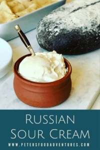 Homemade Sour Cream, Easy to make, authentic, no thickeners, and full of probiotics. These are some of the reasons to make your own Russian Homemade Sour Cream or Smetana (Сметана). How to make sour cream.
