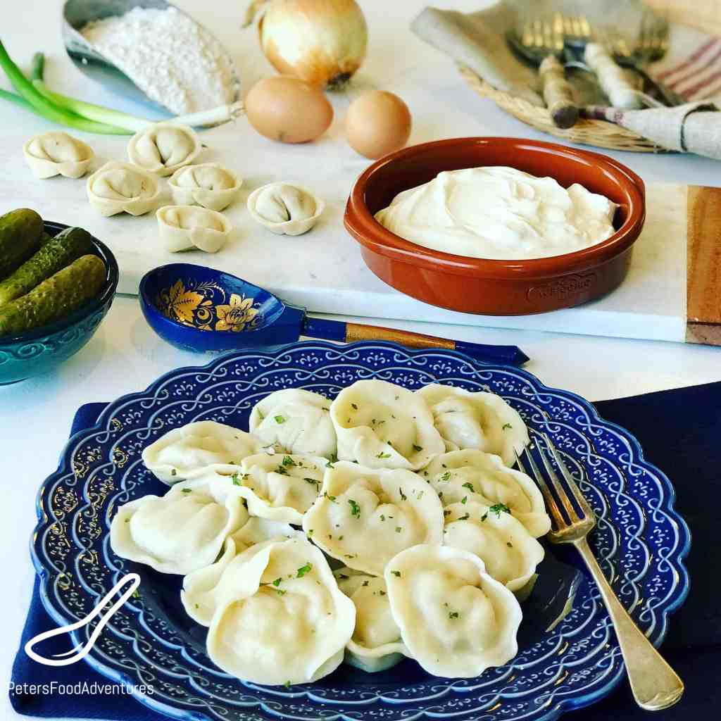 Pelmeni are Russian dumplings with a juicy meat filling, classic Russian comfort food. It's found in every Russian's freezer, and around the former Soviet States. Similar to Vareniki, Pierogies, Uszka, and Manti. From Russia with love.