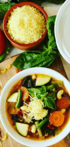 Overflowing with garden veggies? Make this Vegetable Minestrone Soup that's loaded with flavor and packed with vitamins from fresh vegetables. An Italian classic comfort food, delicious, healthy and hearty. Summer Minestrone.