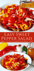 Sweet Pepper Salad is quick and easy to make. The perfect side dish for a picnic, bbq or potluck. Easy Bell Pepper Recipes