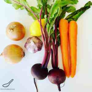 Beets, carrots, onion and garlic