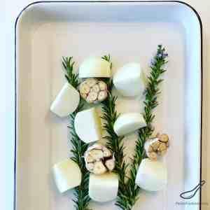 Rosemary Onion Garlic in a Roasting Pan