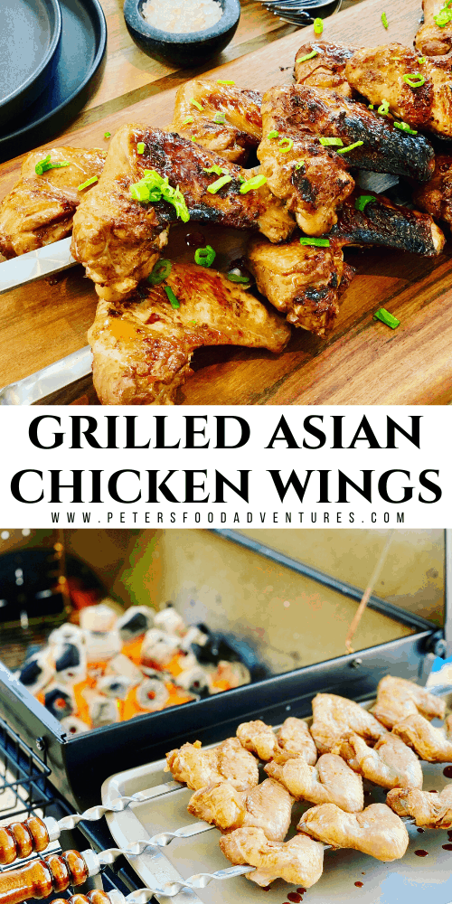 Grilled Chicken Wings are a summer bbq favorite. Make it on skewers on a grill over hot coals. Asian Marinade with Garlic Soy that flavors right to the bone.