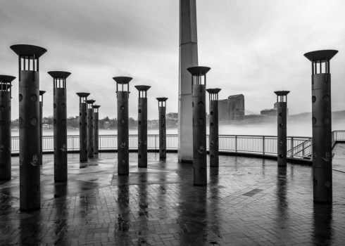 Elements of the National Steamboat Monument contrasted against a foggy Ohio River. Hoping this finds
