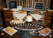 Dessert display at Emily and Nick's wedding at Tailwater Lodge, Altmar, NY. Photo by DJ Peter Naughton. October 2018