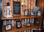 Memorial display at Emily and Nick's wedding at Tailwater Lodge, Altmar, NY. Photo by DJ Peter Naughton. October 2018