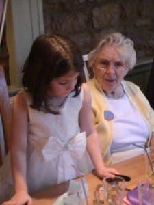 Our mother at her 90th Birthday lunch with her Great -Grandaughter.
