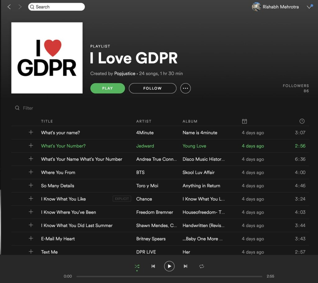 GDPR playlist